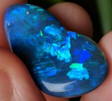 UNIQUE! 26ct Solid Black Opal BLUE GREEN Freeform Carving from Lightning Ridge!