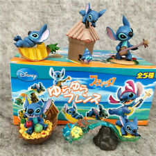 1 Box of 5 Disney Stitch Scenes Surfing Guitar Sing Beach Figures Figurines Toys