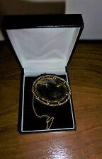 Declaración Vintage Bronce Tono & Piedra de Cristal Oval Pin broche camafeo