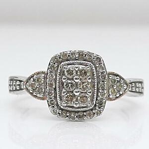 Genuine .68ctw H-SI Diamond 14K Rose Gold 925 Silver Ring Size 6.75 3.3g