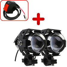 2x 125W U5 Motorcycle LED Headlight Driving Fog Spot Head Light Lamp +Switch