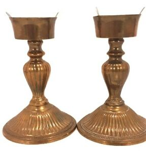 Two Brass Lantern Lamp Style Taper Candle Holders Candlesticks