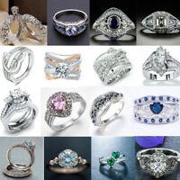 NEW Women 925 Silver Jewelry Wedding White Sapphire Ring Emerald Birthstone Ring