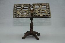 """Nice VTG Brass Metal Footed Music Harp Decorated Gold Color 5"""" Mini Note Stand"""