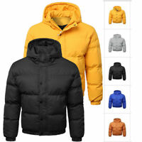 Winter Mens Padded Jacket Coat Quilted Puffer Hooded Bubble Neck Zip Down