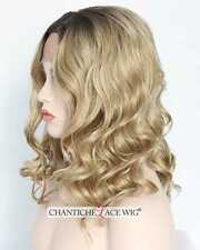 Women's Short Bob Wig Natural Wavy Ombre Golden Blonde Synthetic Lace Front Wigs