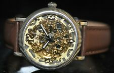 Men's Tremont Automatic Gold Skeleton Dial Brown Genuine Leather Watch