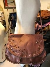 Lucky Brand whiskey brown leather crossbody Stash bag aged brass studs