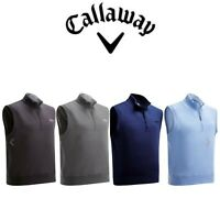 Callaway Mens French Terry 1/4 Zip Fleece Chest logo Golf Sleeveless Vest