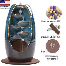Ceramic waterfall incense burner+50 incense cones+30 incense sticks