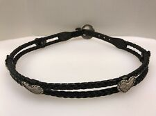 Black Leather Double Braided Woven Silver Hearts Western Rope Belt Size 32 1990s