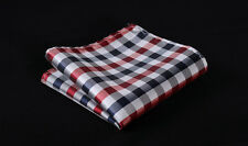 HC3014R Red Blue Check Men 100% Silk Satin Handkerchief Pocket Square Hanky