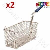 2x Fryer Basket Commercial Restaurant Kitchen Chip Fish Heavy Duty 335x140x140mm