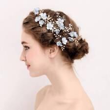 Bridal Tiara Diamond Blue Flower Pearl U-shaped Hairpin Wedding Party Hair Comb