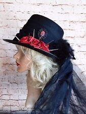 Superbe Unisexe Unique Steampunk Noir Rouge Gothique Top Hat Veil Crâne Cameo Rose