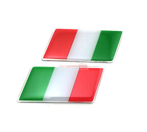 2x Italy IT Flag Trunk Rear Emblem Badge Sticker Decal For Fiat Ferra Alfa Romeo