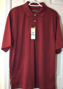 Mens Polo Cubavera Short Sleeve Dark Red Size L
