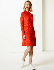 BNWT M&S Collection Red Long Sleeved Playing Cards Swing Dress Size 18