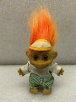 "Vintage Troll Doll Russ Golfer w/ Golf Cap Hat Shirt Pants Orange Hair 5"" Long"