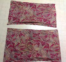 Ralph Lauren Paisley Floral Red Tan Cotton King Size Pillow Sham Set *WoW*