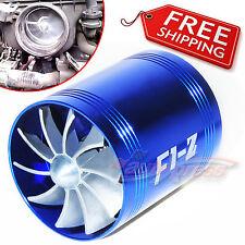 AIR INTAKE DUAL FAN BLUE Turbo Supercharger Turbonator Gas Fuel Saver fit SUZUKI