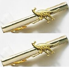 2 tie bar clips Lot dinosaur clasps pins silver gold tone
