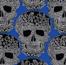 SKULLS OUT Blue DAY DEAD Skull FQ Calaveras MEXICAN FOLK ART Art Skull PAISLEY