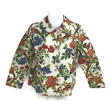 Norm Thompson Women's Bird Floral Butterfly Printed Button Down Top USA Size PM