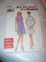 WOMENS UNCUT SIMPLICITY Sewing Pattern 8024 dress sleeveless casual SIZE 6-16