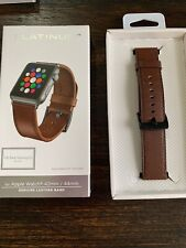 GENUINE Platinum Leather Watch Strap for Apple Watch 42mm Bourbon PREOWNED!
