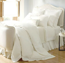 Sferra CORNOVA Twin Flat Sheet White Italian Lace 406TC Egypt Cotton Percale New