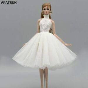 """White High Neck Ballet Dress For 11.5"""" Doll Outfits 1/6 Accessories Clothes Toys"""