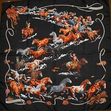Auth Hermes Paris LES MUSTANGS Vintage Black Silk Scarf ROBERT DALLET 90cm