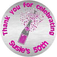 PERSONALISED GLOSS CHAMPAGNE BOTTLE 40TH, 50TH, 60TH, BIRTHDAY STICKERS SILVER