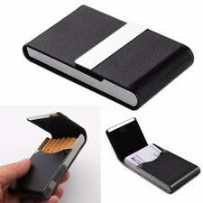 1pcs  Pocket Black Stainless Steel PU Leather Name Business Card Case Holder