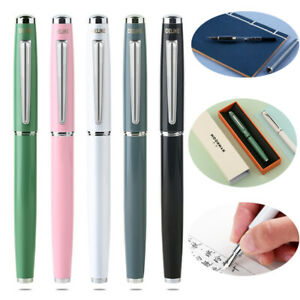 5 Color Delike EF Bent Nib 0.6mm Fountain Pen Metal Lacquer Ink Pen Writing Gift