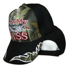 Redneck Hillbilly Kiss My Bass Black/Camo Camouflage Fishing Hat Cap #1 (RAM)