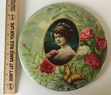 "Celluloid Litho Lady Roses Butterfly Button 9"" Tin Easel Stand Antique Ca 1910"