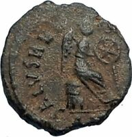 AELIA FLACILLA Theodosius I Wife 383AD Ancient Roman Coin VICTORY CHI-RHO i67516