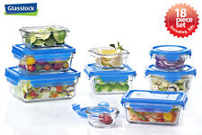 Glasslock Food Storage Glass Container 18pc Set Blue Lid Microwave & Oven Safe