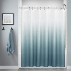 Blue Gray White Textured Ombre Gradient Boho Fabric Shower Curtain with Hooks