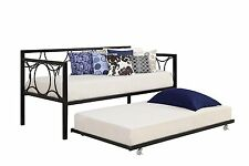 Bed Trundle Universal Daybed Twin Metal Rolling Frame Guest Bedroom Kids Black