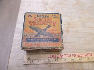 Vintage 12 Ga. Peters High Velocity RUSTLESS EMPTY Shotgun Shell Ammo Box