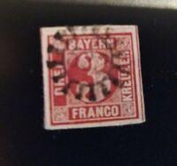 "BAYERN 3 Kreuzer rot (Nr. 9) allseits breitrandig/gMR ""532"" Ühlfeld Mf."