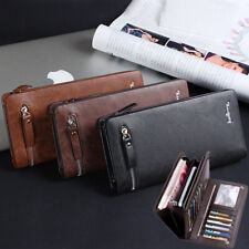 Men Leather Phone Long Wallets Clutch ID Credit Card Cash Photo Holders Business