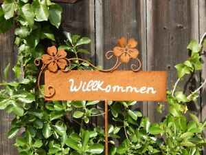 Willkommen Schild Blumen Metall-Stecker Eingang Deko Gartenstecker Rostschild