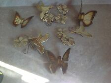 Vintage Mid Century Set BRASS Wall Butterfly Humming Bird Flower Metal Wall Art