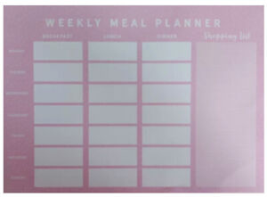 Weekly Meal Planner A4 Diary Pad Notes To Do List Food Organiser 26 Pages Pink