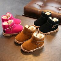 US 1-6T Toddler Baby Kids Boys Girls Winter Warm Soft Sole Crib Shoes Snow Boots