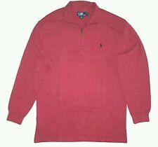 Polo Ralph Lauren Big & Tall 1/2 Zip French Rib Sweater Mens Pink LT NWT